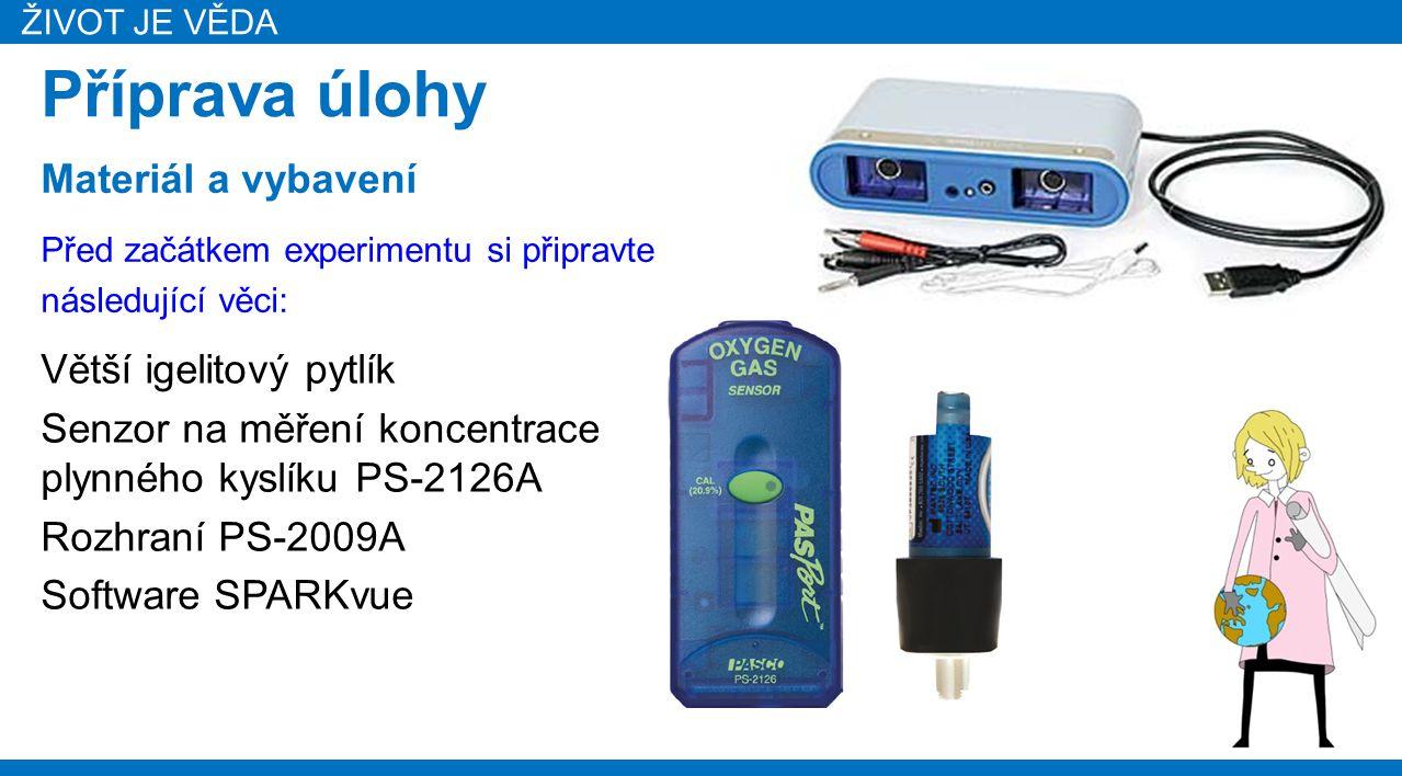 ŽIVOT JE VĚDA Příprava úlohy Větší igelitový pytlík Senzor na měření koncentrace plynného kyslíku PS-2126A Rozhraní PS-2009A Software SPARKvue Před za