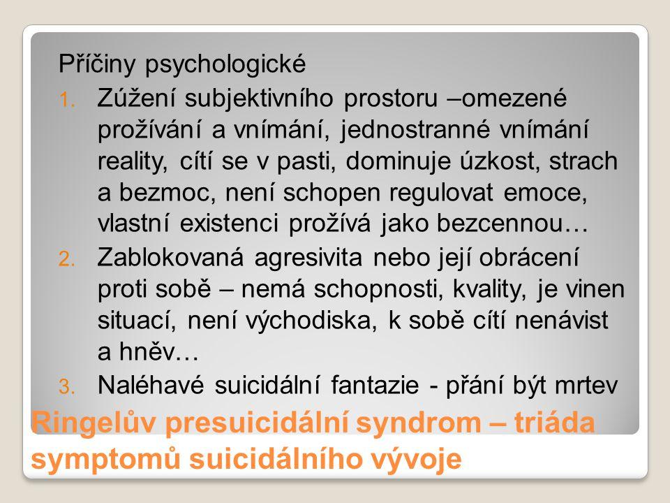 Ringelův presuicidální syndrom – triáda symptomů suicidálního vývoje Příčiny psychologické 1. Zúžení subjektivního prostoru –omezené prožívání a vnímá