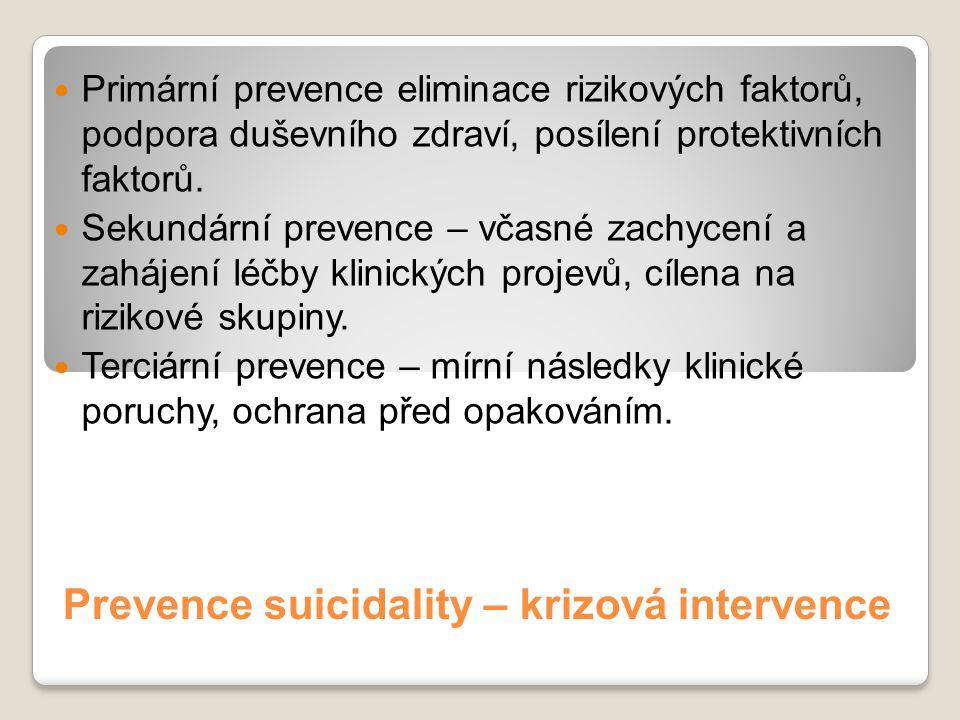 Prevence suicidality – krizová intervence Primární prevence eliminace rizikových faktorů, podpora duševního zdraví, posílení protektivních faktorů. Se