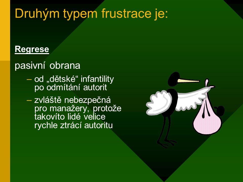 Prvním typem frustrace je: agrese –útočná reakce –široká škála reakcí od gest doprovázených ironickými i uštěpačnými poznámkami, po slovní a fyzická n