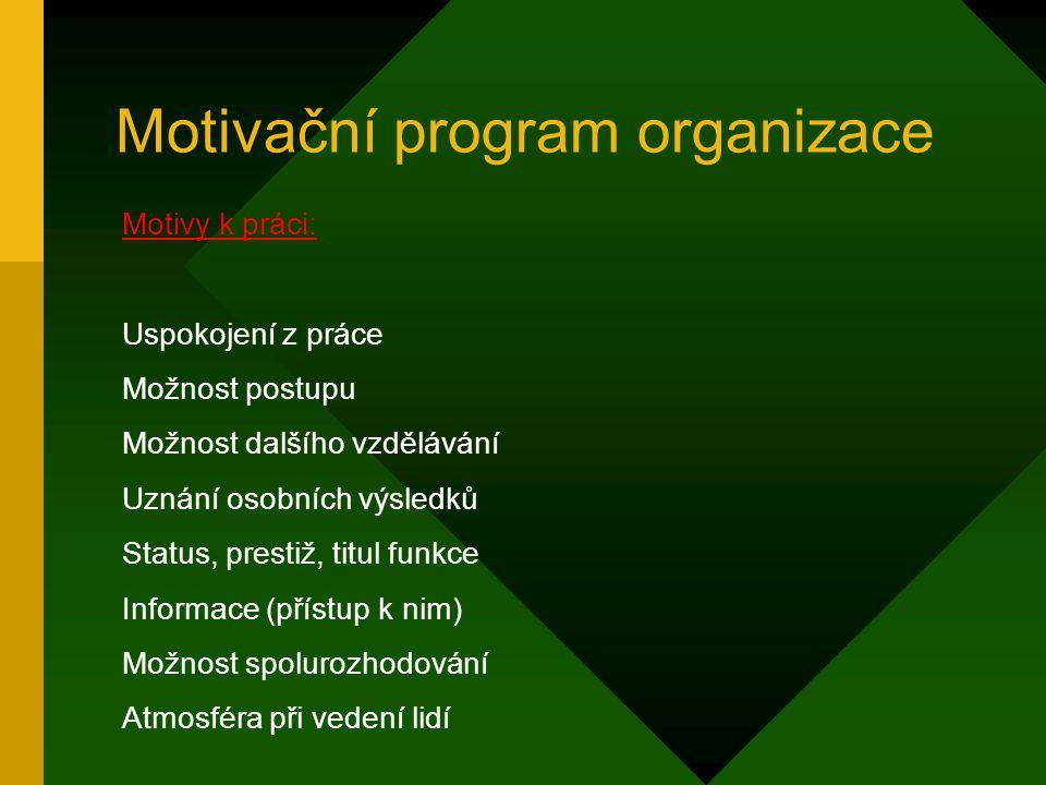 Motivační program organizace Motivy k práci: Jistota práce (perspektivní zaměstnavatel nebo obor) Jistota daného pracovního místa Nadstandartní přípoj