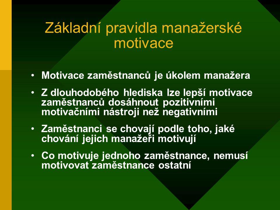 Základní pojmy Vedení: motivování a ovlivňování aktivit podřízených Motiv: důvod, pohnutka jednání Potřeba: stav nedostatku Uspokojení potřeby – aktiv