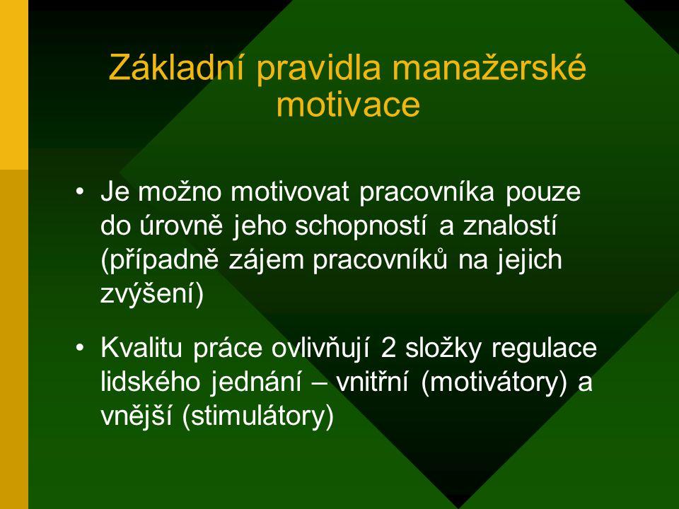 Základní pravidla manažerské motivace Motivace zaměstnanců je úkolem manažera Z dlouhodobého hlediska lze lepší motivace zaměstnanců dosáhnout pozitiv