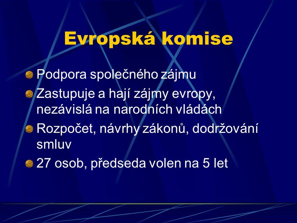 Evropská komise Podpora společného zájmu Zastupuje a hají zájmy evropy, nezávislá na narodních vládách Rozpočet, návrhy zákonů, dodržování smluv 27 osob, předseda volen na 5 let