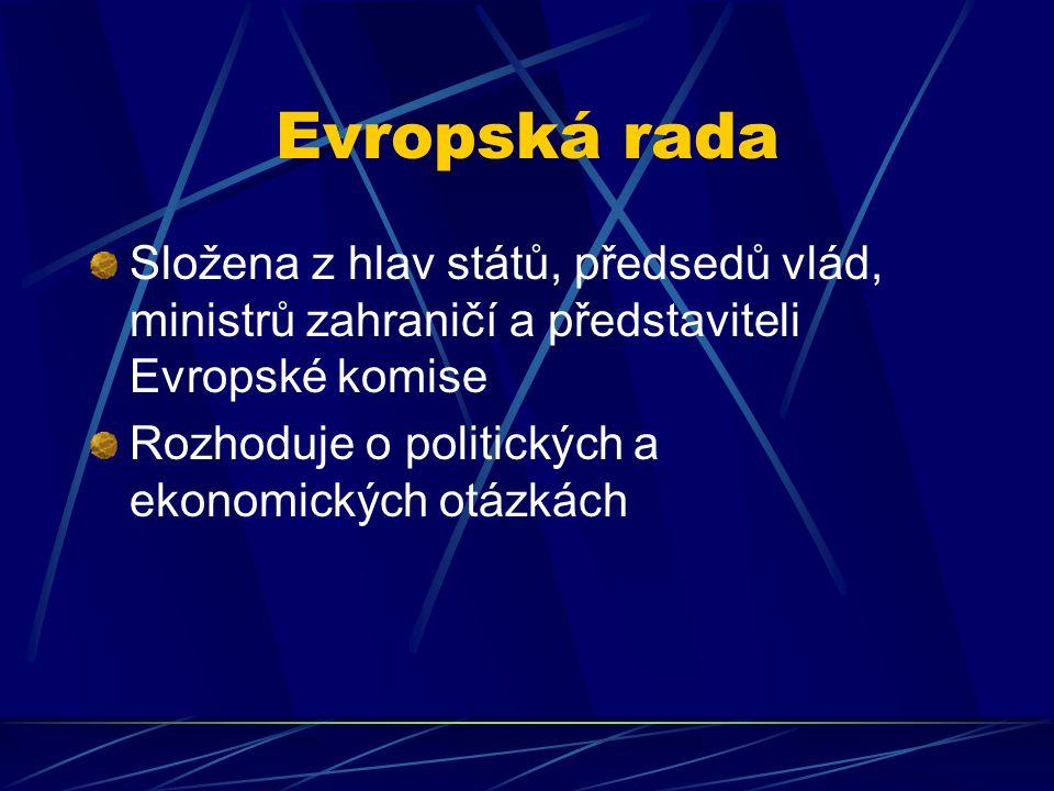 Evropská rada Složena z hlav států, předsedů vlád, ministrů zahraničí a představiteli Evropské komise Rozhoduje o politických a ekonomických otázkách