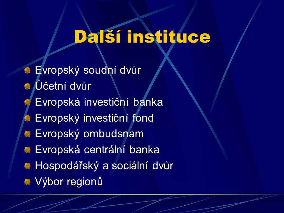 Další instituce Evropský soudní dvůr Účetní dvůr Evropská investiční banka Evropský investiční fond Evropský ombudsnam Evropská centrální banka Hospodářský a sociální dvůr Výbor regionů