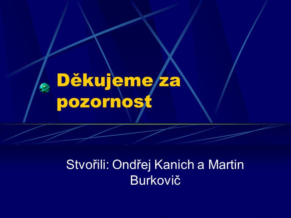 Děkujeme za pozornost Stvořili: Ondřej Kanich a Martin Burkovič
