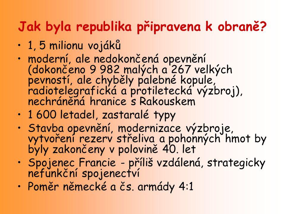 Jak byla republika připravena k obraně? 1, 5 milionu vojáků moderní, ale nedokončená opevnění (dokončeno 9 982 malých a 267 velkých pevností, ale chyb