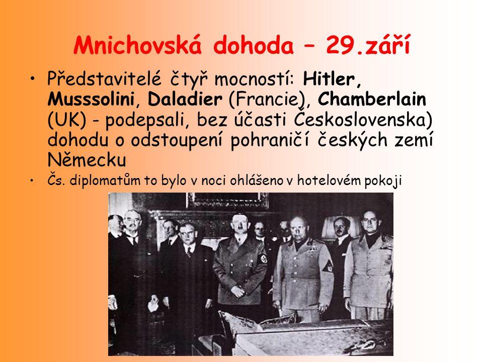 Mnichovská dohoda – 29.září Představitelé čtyř mocností: Hitler, Musssolini, Daladier (Francie), Chamberlain (UK) - podepsali, bez účasti Českoslovens
