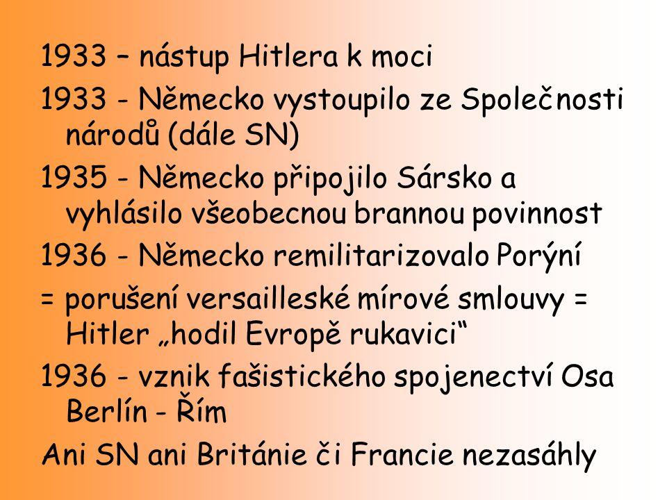 1933 – nástup Hitlera k moci 1933 - Německo vystoupilo ze Společnosti národů (dále SN) 1935 - Německo připojilo Sársko a vyhlásilo všeobecnou brannou