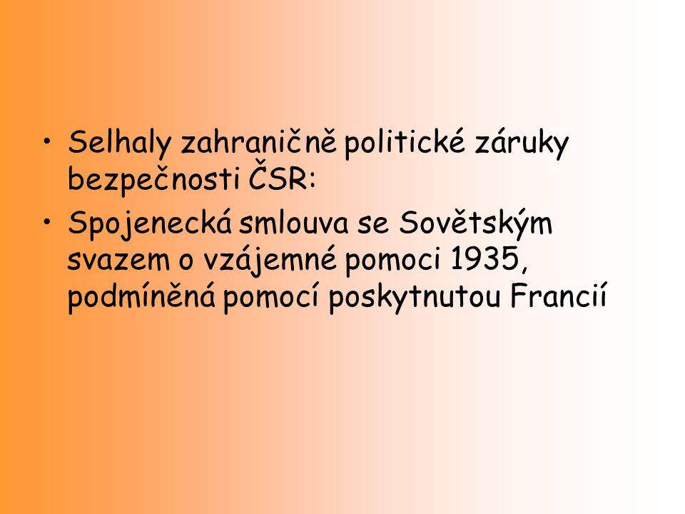 Selhaly zahraničně politické záruky bezpečnosti ČSR: Spojenecká smlouva se Sovětským svazem o vzájemné pomoci 1935, podmíněná pomocí poskytnutou Franc