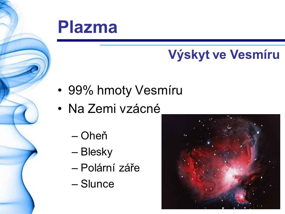 99% hmoty Vesmíru Na Zemi vzácné –Oheň –Blesky –Polární záře –Slunce Výskyt ve Vesmíru