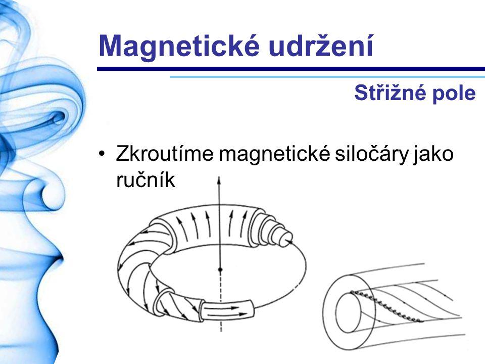 Magnetické udržení Zkroutíme magnetické siločáry jako ručník Střižné pole