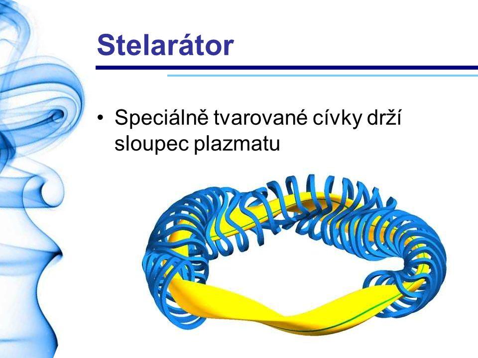 Stelarátor Speciálně tvarované cívky drží sloupec plazmatu