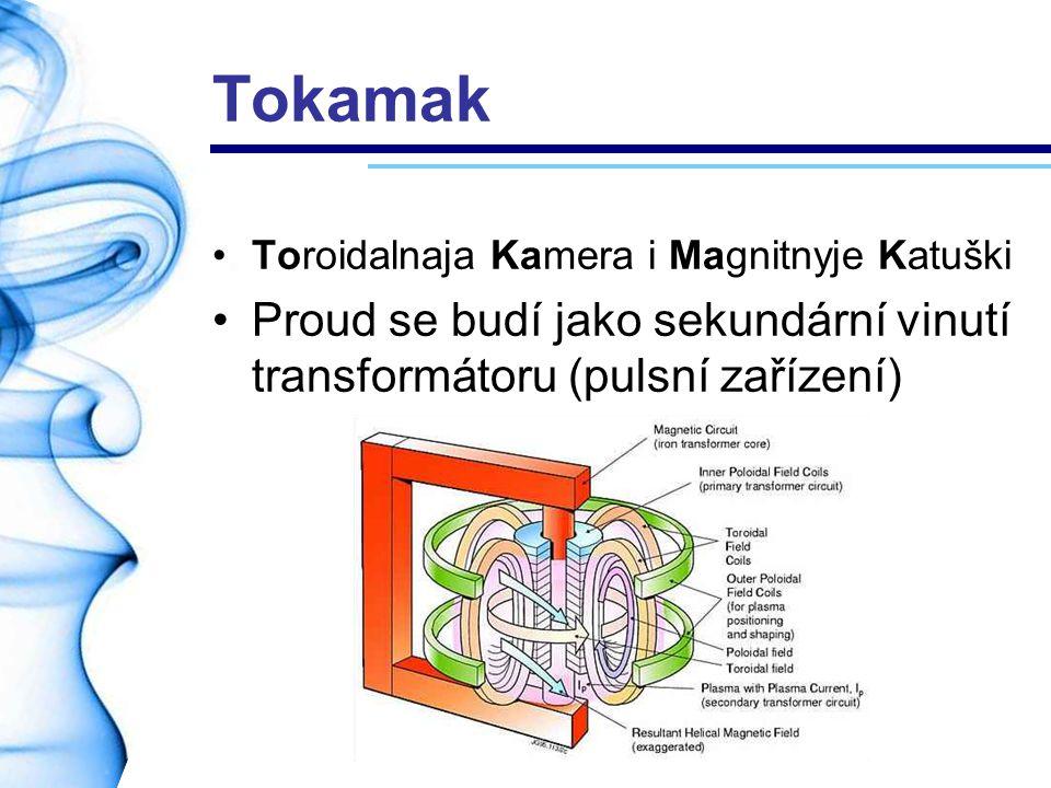 Tokamak Toroidalnaja Kamera i Magnitnyje Katuški Proud se budí jako sekundární vinutí transformátoru (pulsní zařízení)