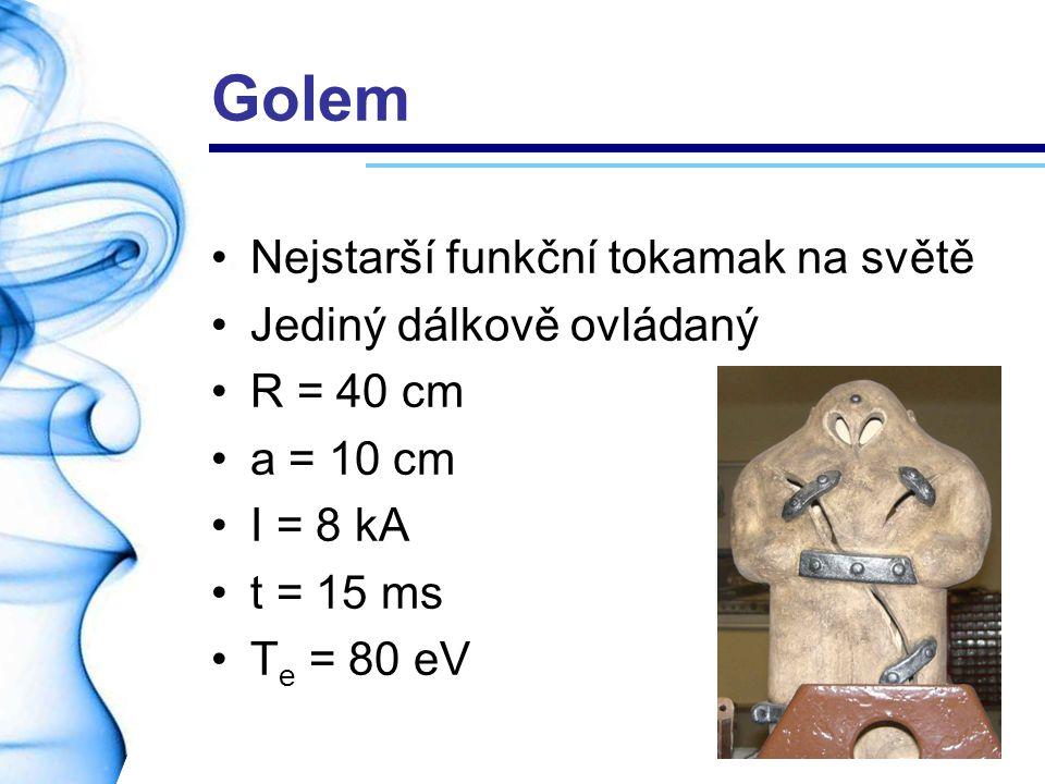 Golem Nejstarší funkční tokamak na světě Jediný dálkově ovládaný R = 40 cm a = 10 cm I = 8 kA t = 15 ms T e = 80 eV