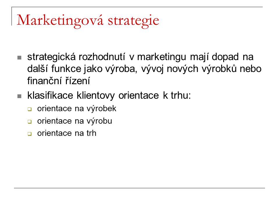 Marketingová strategie strategická rozhodnutí v marketingu mají dopad na další funkce jako výroba, vývoj nových výrobků nebo finanční řízení klasifika