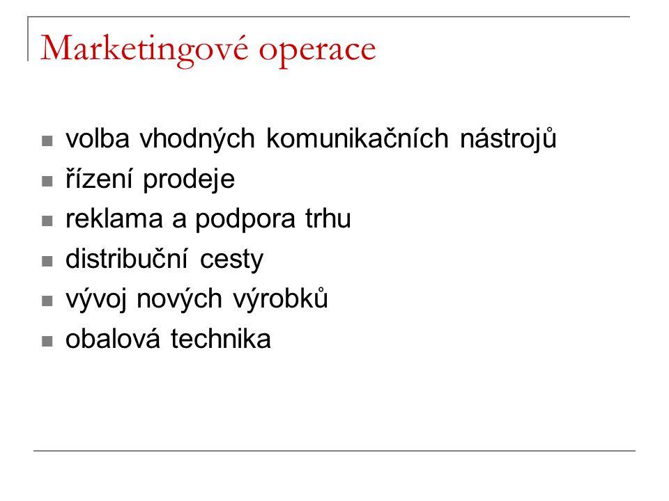 Marketingové operace volba vhodných komunikačních nástrojů řízení prodeje reklama a podpora trhu distribuční cesty vývoj nových výrobků obalová techni