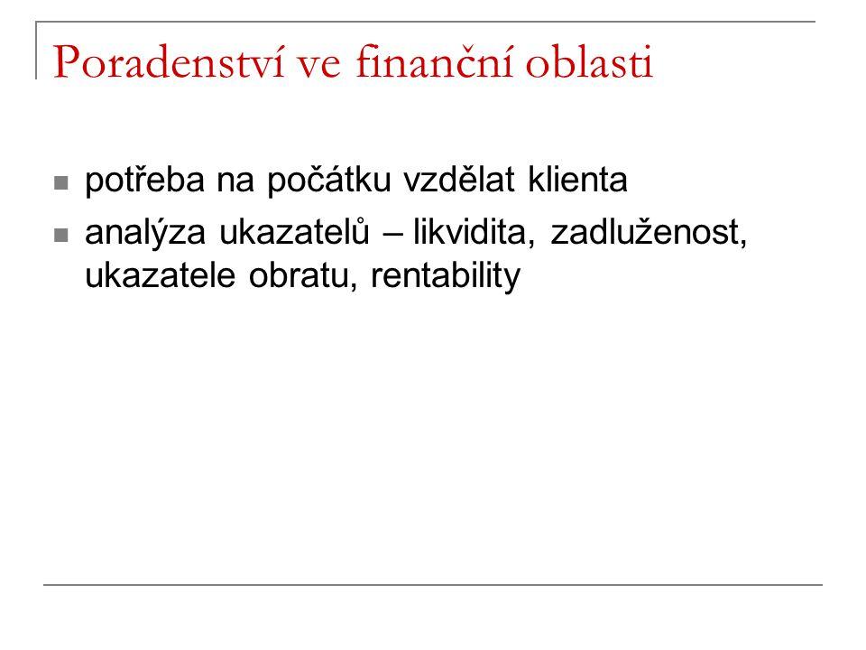 potřeba na počátku vzdělat klienta analýza ukazatelů – likvidita, zadluženost, ukazatele obratu, rentability