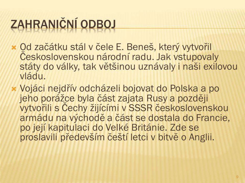  Od začátku stál v čele E. Beneš, který vytvořil Československou národní radu.