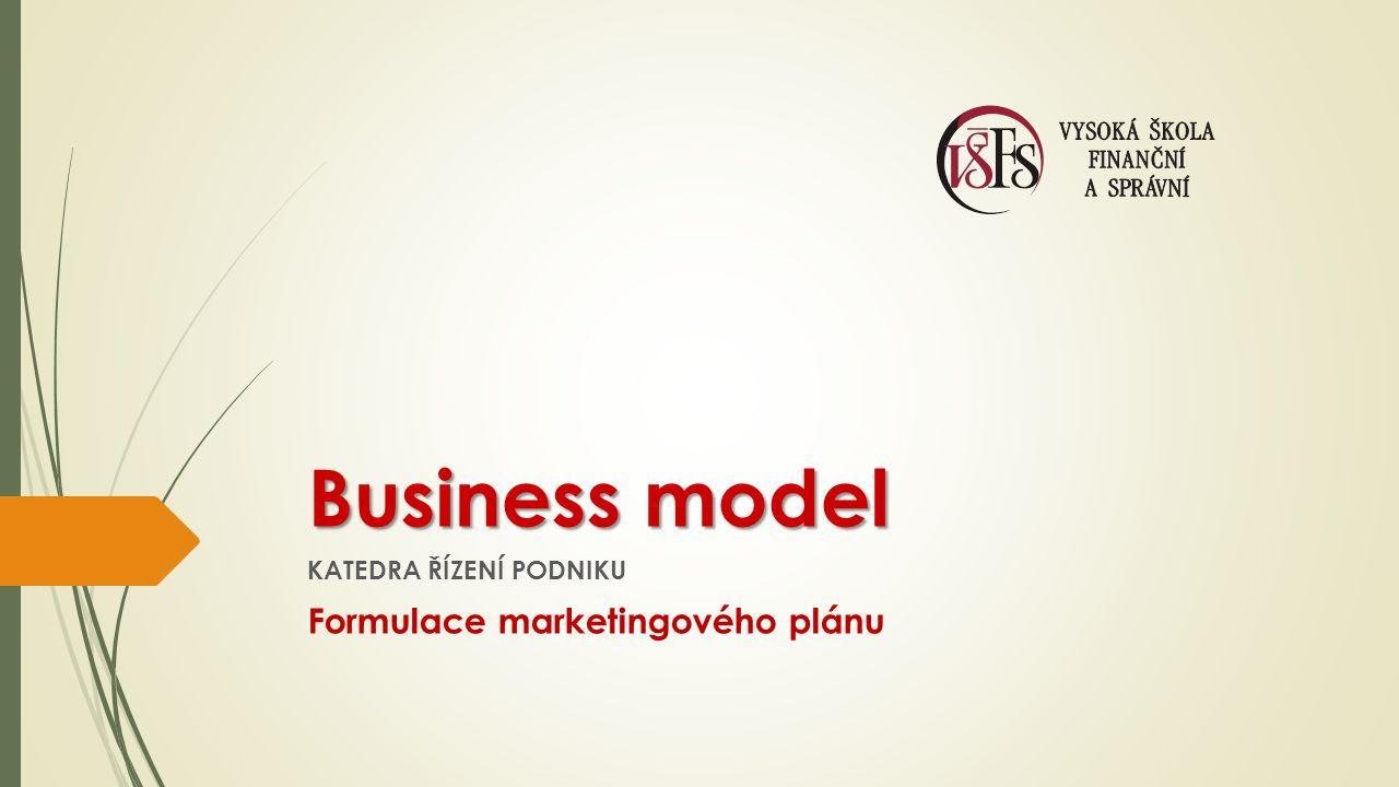 Business model KATEDRA ŘÍZENÍ PODNIKU Formulace marketingového plánu