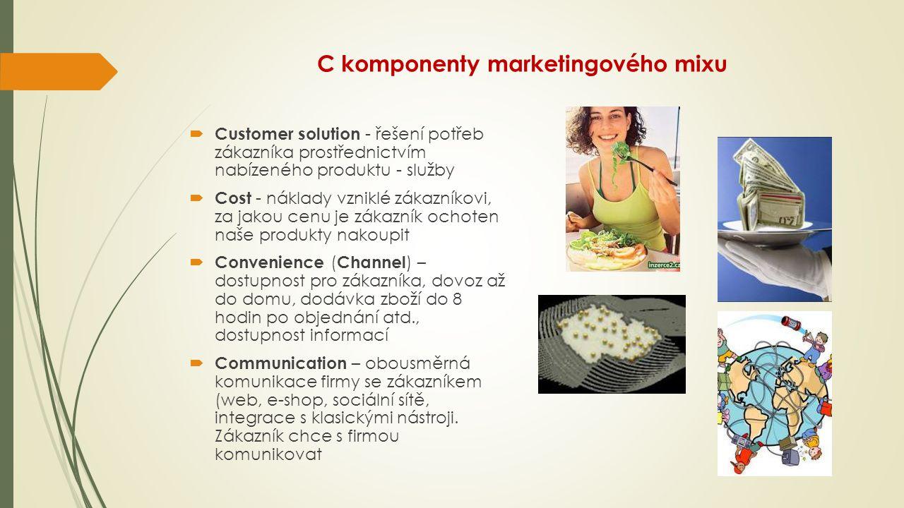 C komponenty marketingového mixu  Customer solution - řešení potřeb zákazníka prostřednictvím nabízeného produktu - služby  Cost - náklady vzniklé z