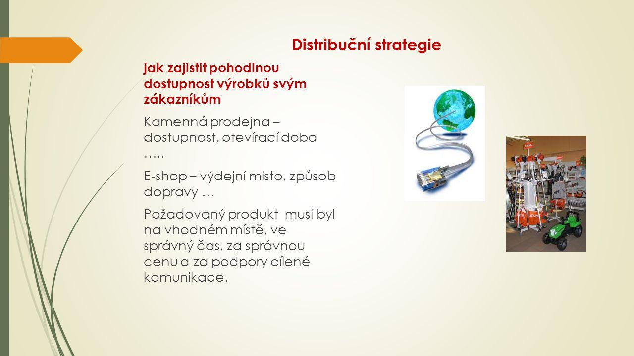 Distribuční strategie jak zajistit pohodlnou dostupnost výrobků svým zákazníkům Kamenná prodejna – dostupnost, otevírací doba ….. E-shop – výdejní mís