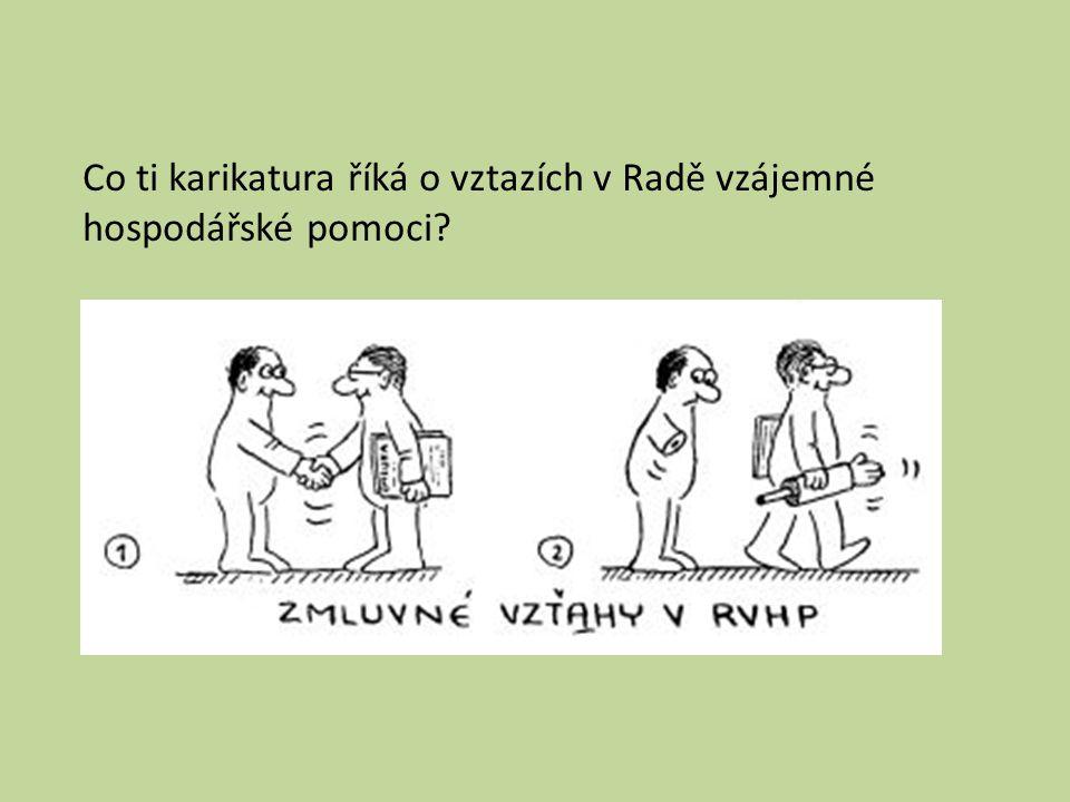 Co ti karikatura říká o vztazích v Radě vzájemné hospodářské pomoci?
