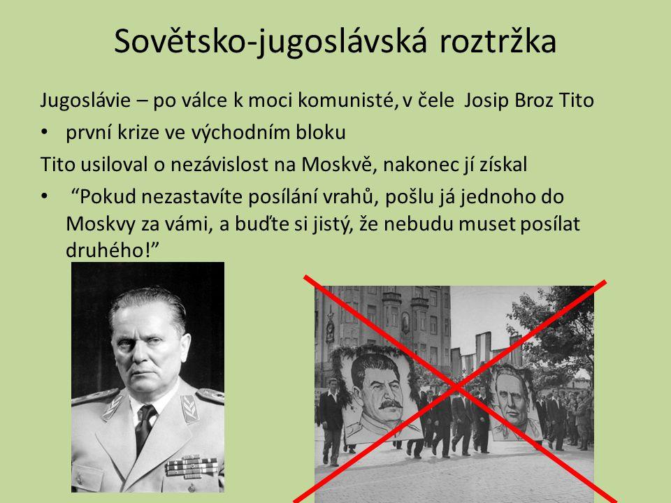 Sovětsko-jugoslávská roztržka Jugoslávie – po válce k moci komunisté, v čele Josip Broz Tito první krize ve východním bloku Tito usiloval o nezávislos