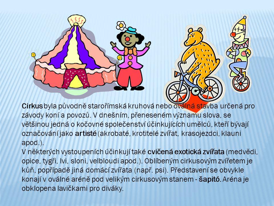 Cirkus byla původně starořímská kruhová nebo oválná stavba určená pro závody koní a povozů. V dnešním, přeneseném významu slova, se většinou jedná o k