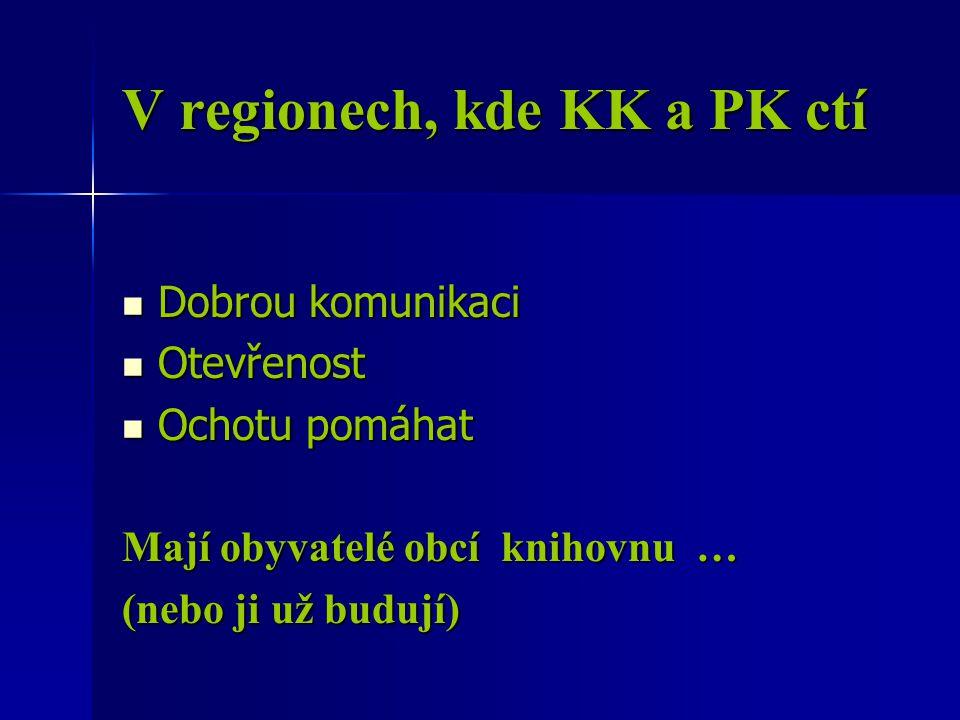 V regionech, kde KK a PK ctí Dobrou komunikaci Dobrou komunikaci Otevřenost Otevřenost Ochotu pomáhat Ochotu pomáhat Mají obyvatelé obcí knihovnu … (nebo ji už budují)