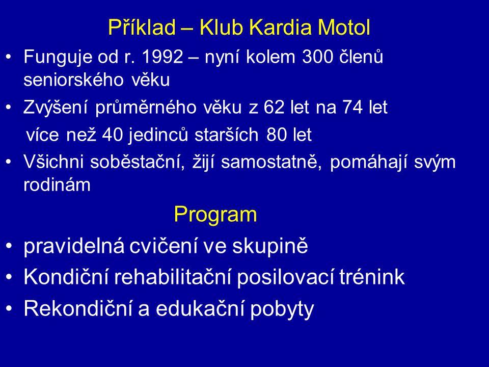 Příklad – Klub Kardia Motol Funguje od r. 1992 – nyní kolem 300 členů seniorského věku Zvýšení průměrného věku z 62 let na 74 let více než 40 jedinců
