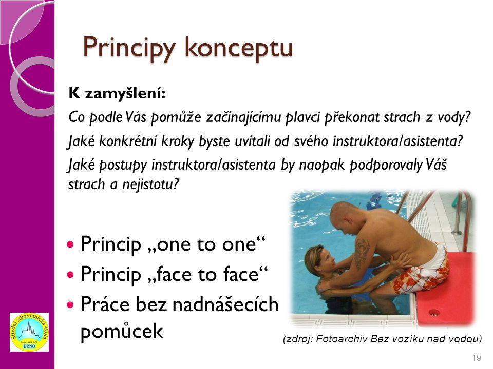 """Principy konceptu Princip """"one to one"""" Princip """"face to face"""" Práce bez nadnášecích pomůcek 19 K zamyšlení: Co podle Vás pomůže začínajícímu plavci př"""
