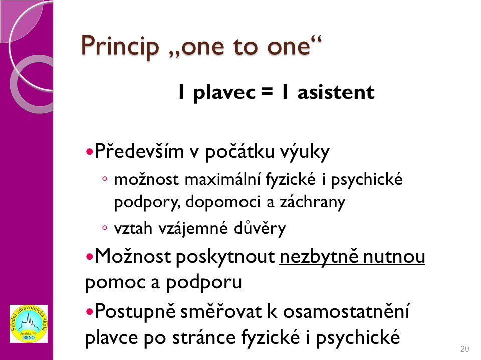 """Princip """"one to one"""" 1 plavec = 1 asistent Především v počátku výuky ◦ možnost maximální fyzické i psychické podpory, dopomoci a záchrany ◦ vztah vzáj"""