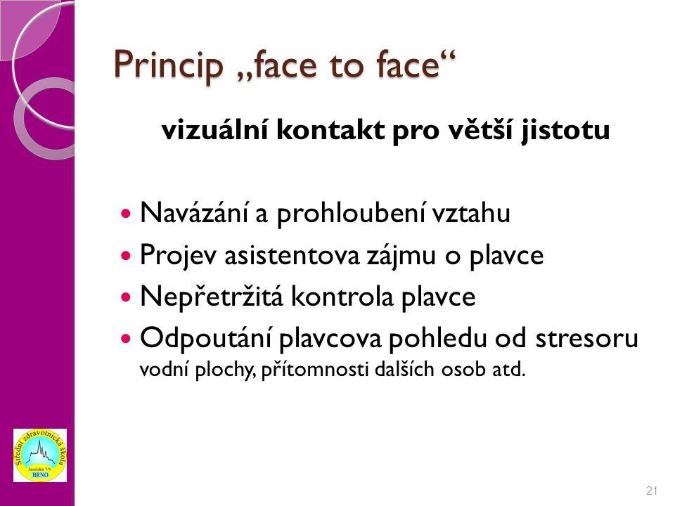 """Princip """"face to face"""" vizuální kontakt pro větší jistotu Navázání a prohloubení vztahu Projev asistentova zájmu o plavce Nepřetržitá kontrola plavce"""