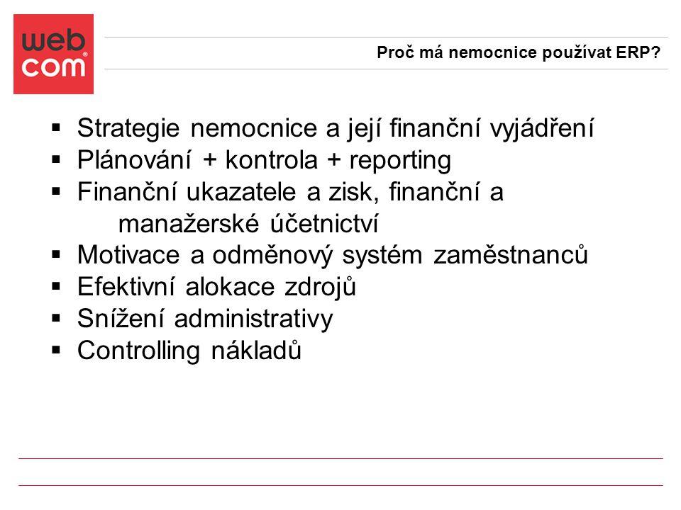  Strategie nemocnice a její finanční vyjádření  Plánování + kontrola + reporting  Finanční ukazatele a zisk, finanční a manažerské účetnictví  Motivace a odměnový systém zaměstnanců  Efektivní alokace zdrojů  Snížení administrativy  Controlling nákladů