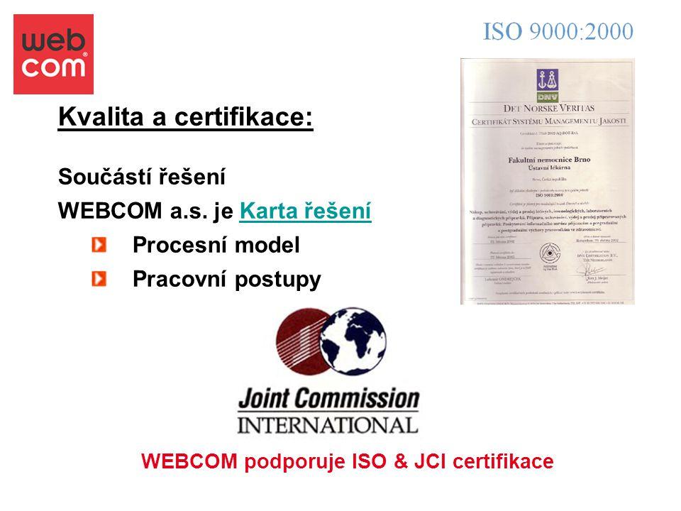Kvalita a certifikace: Součástí řešení WEBCOM a.s. je Karta řešeníKarta řešení Procesní model Pracovní postupy WEBCOM podporuje ISO & JCI certifikace