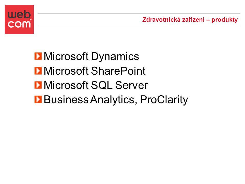 Zdravotnická zařízení – produkty Microsoft Dynamics Microsoft SharePoint Microsoft SQL Server Business Analytics, ProClarity