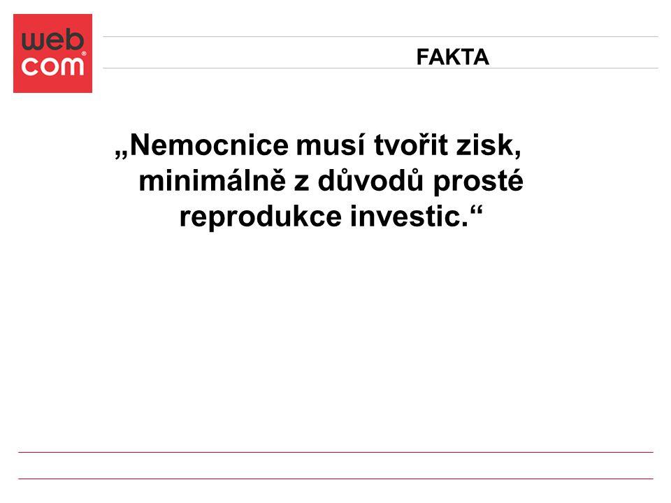 """""""Nemocnice musí tvořit zisk, minimálně z důvodů prosté reprodukce investic."""" FAKTA"""