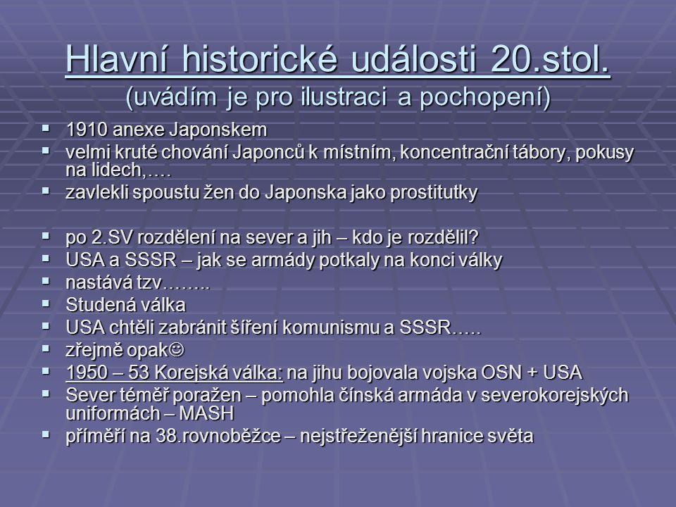 Hlavní historické události 20.stol.
