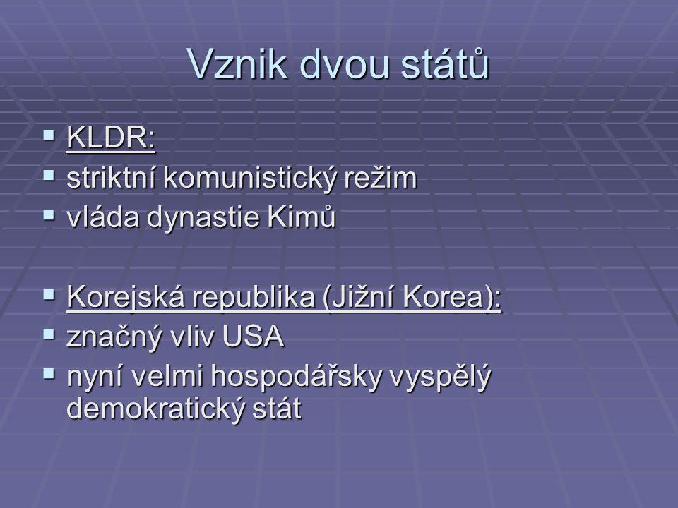 Vznik dvou států  KLDR:  striktní komunistický režim  vláda dynastie Kimů  Korejská republika (Jižní Korea):  značný vliv USA  nyní velmi hospodářsky vyspělý demokratický stát