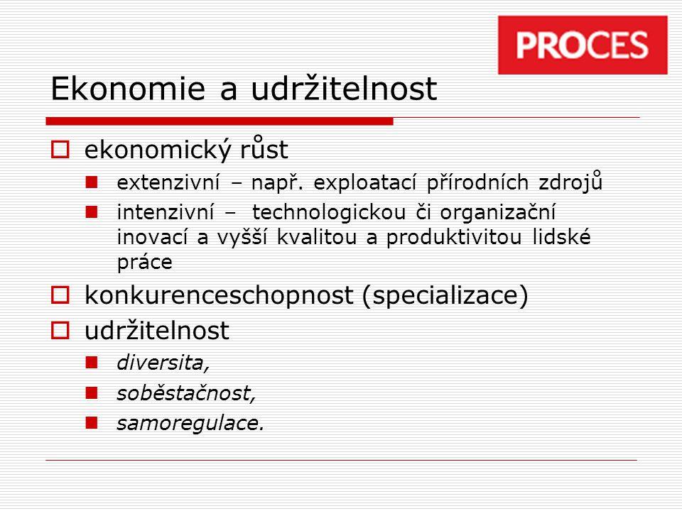 Ekonomie a udržitelnost  ekonomický růst extenzivní – např. exploatací přírodních zdrojů intenzivní – technologickou či organizační inovací a vyšší k
