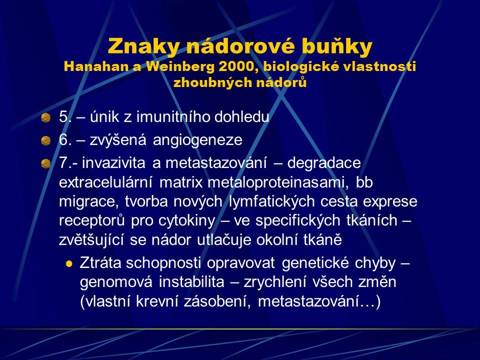 Znaky nádorové buňky Hanahan a Weinberg 2000, biologické vlastnosti zhoubných nádorů 5. – únik z imunitního dohledu 6. – zvýšená angiogeneze 7.- invaz