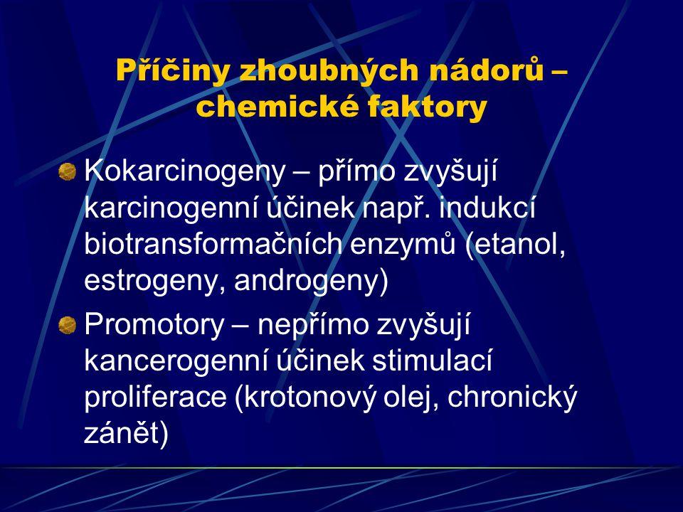 Příčiny zhoubných nádorů – chemické faktory Kokarcinogeny – přímo zvyšují karcinogenní účinek např. indukcí biotransformačních enzymů (etanol, estroge