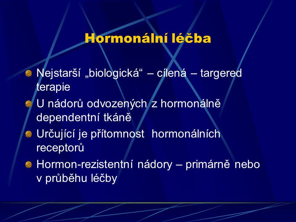 """Hormonální léčba Nejstarší """"biologická"""" – cílená – targered terapie U nádorů odvozených z hormonálně dependentní tkáně Určující je přítomnost hormonál"""