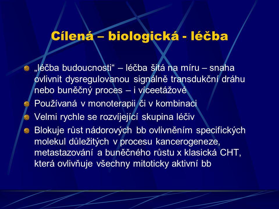"""Cílená – biologická - léčba """"léčba budoucnosti"""" – léčba šitá na míru – snaha ovlivnit dysregulovanou signálně transdukční dráhu nebo buněčný proces –"""