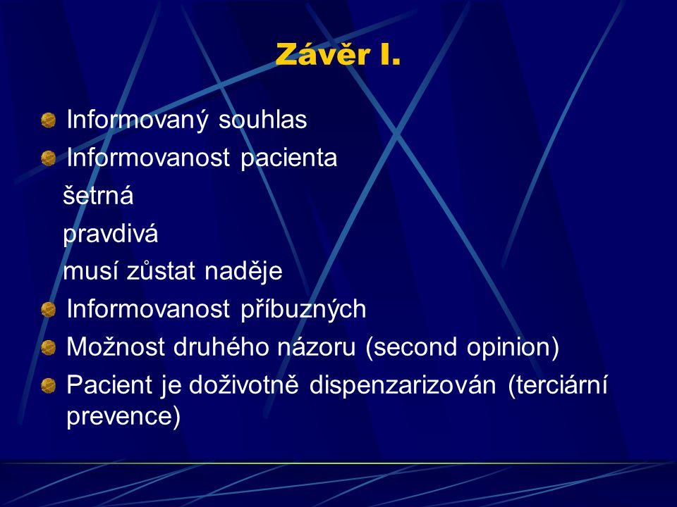 Závěr I. Informovaný souhlas Informovanost pacienta šetrná pravdivá musí zůstat naděje Informovanost příbuzných Možnost druhého názoru (second opinion