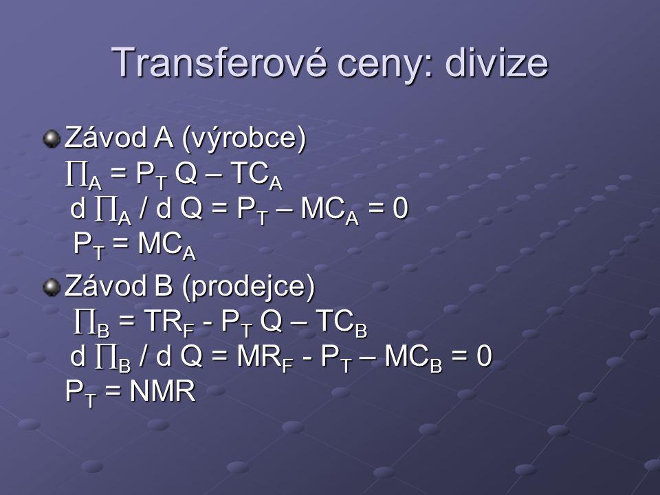 Transferové ceny: divize Závod A (výrobce)  A = P T Q – TC A d  A / d Q = P T – MC A = 0 P T = MC A Závod B (prodejce)  B = TR F - P T Q – TC B d 
