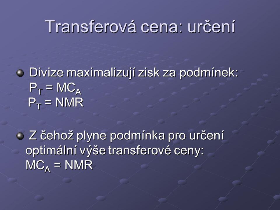 Transferová cena: určení Divize maximalizují zisk za podmínek: P T = MC A P T = NMR Divize maximalizují zisk za podmínek: P T = MC A P T = NMR Z čehož