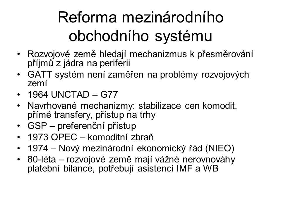 Reforma mezinárodního obchodního systému Rozvojové země hledají mechanizmus k přesměrování příjmů z jádra na periferii GATT systém není zaměřen na problémy rozvojových zemí 1964 UNCTAD – G77 Navrhované mechanizmy: stabilizace cen komodit, přímé transfery, přístup na trhy GSP – preferenční přístup 1973 OPEC – komoditní zbraň 1974 – Nový mezinárodní ekonomický řád (NIEO) 80-léta – rozvojové země mají vážné nerovnováhy platební bilance, potřebují asistenci IMF a WB